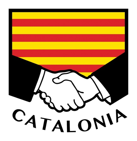syndicate: Catalonia flag and business handshake