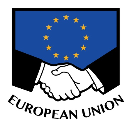 European Union flag and business handshake Vector