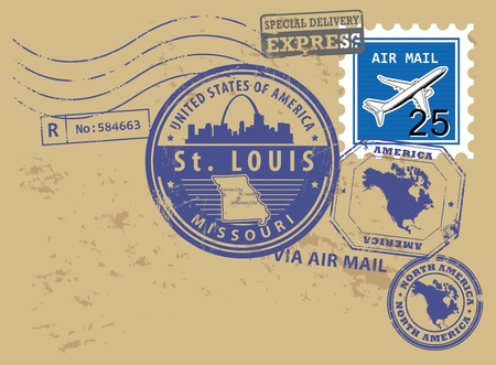 louis: Grunge rubber post stamps set with name of Missouri, St  Louis