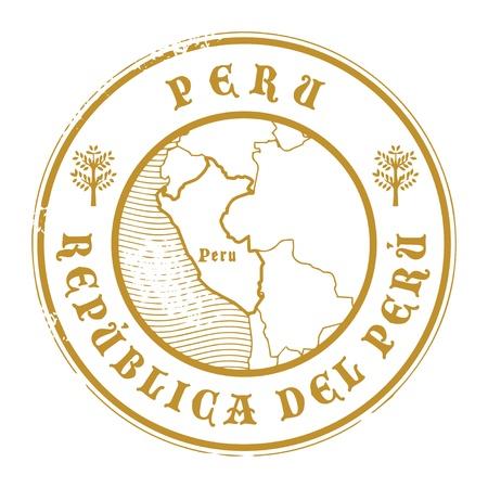 stempel reisepass: Grunge Stempel mit dem Namen und der Karte von Peru