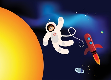 rocketship: Rocket and astronaut fly in Space Illustration