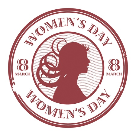abstract woman: Red stamp with the text Women s Day written inside
