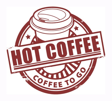 Grunge rubber stamp, with the text Hot Coffee written inside Vector