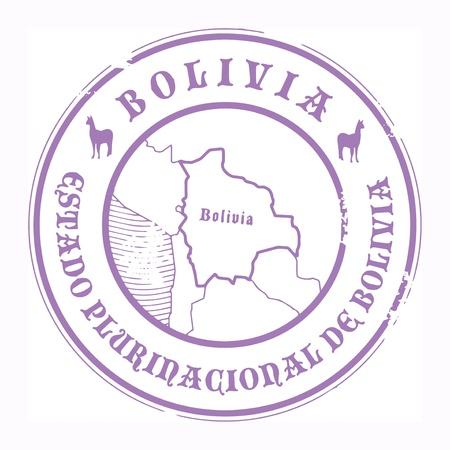 mapa de bolivia: Grunge sello de goma con el nombre y el mapa de Bolivia