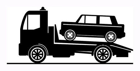 tow truck: Car salvage and towing sign Illustration