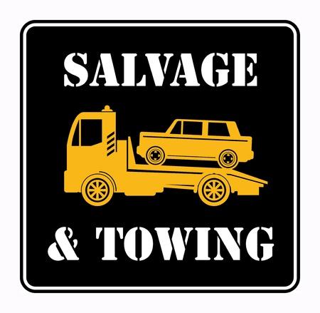 old service station: Salvataggio auto e segno di traino