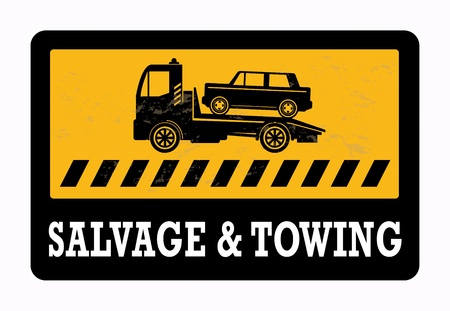 old service station: Car salvage and towing sign Illustration