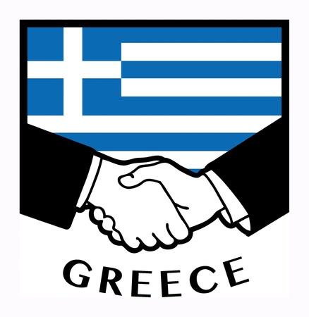 pact: Greece flag and business handshake