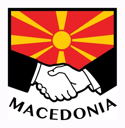 Macedonia flag and business handshake Stock Vector - 17698806