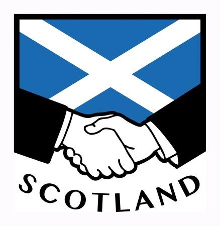 Escocia bandera y el apretón de manos de negocios Ilustración de vector