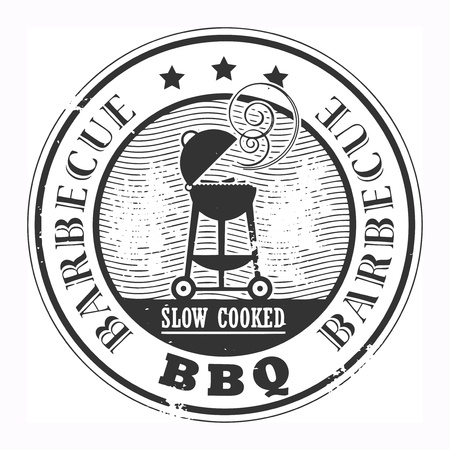 steaks: Abstract grunge rubber stamp with the word Barbecue written inside the stamp Illustration