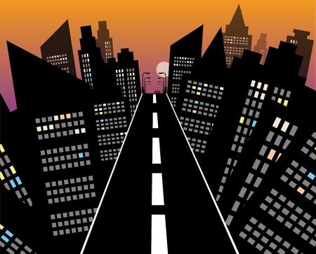 night road: City road at night Illustration