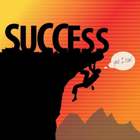 mountain climber: Success concept, rock climbing