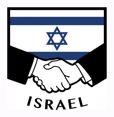syndicate: Israel flag and business handshake Illustration