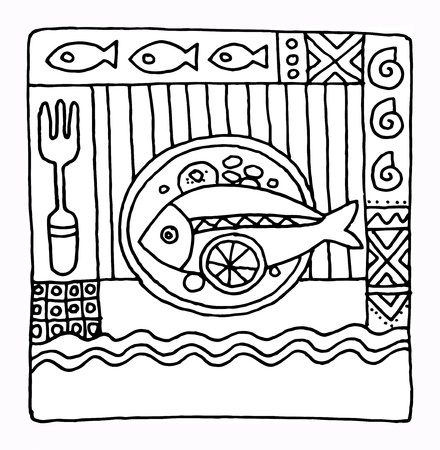 main dishes: Mano restaurante elaborado dise�o de men� Vectores