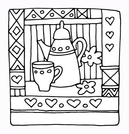 caffee: Hand drawn restaurant menu design Illustration