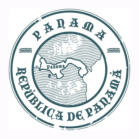 panama: Grunge rubber stamp with the name and map of Panama Illustration