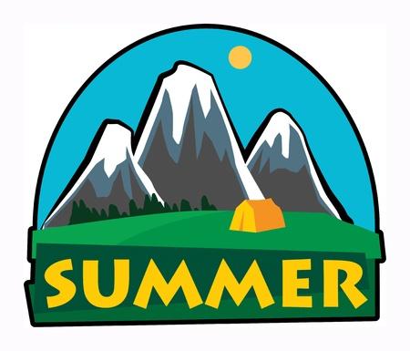 Mountain summer adventure sign Stock Vector - 17843769
