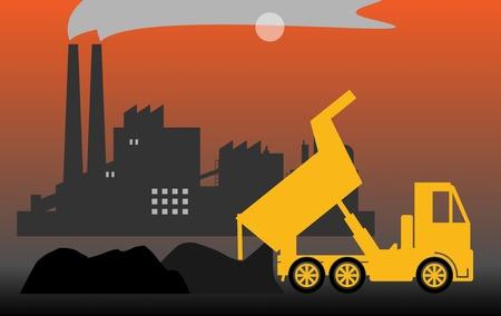 cement chimney: Dump truck