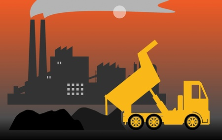 silhouette industrial factory: Dump truck