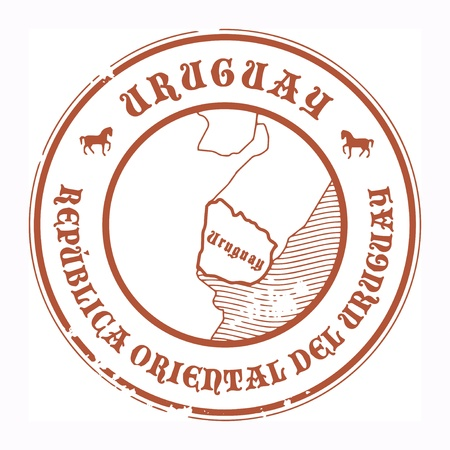 Grunge rubber stamp with the name and map of Uruguay Vector