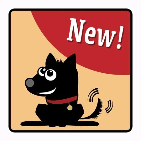 pet store advertising: Dog shop label Illustration