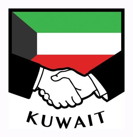 koweit: Drapeau du Kowe�t et business handshake