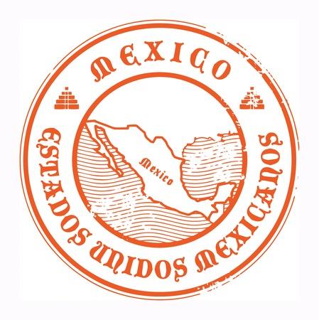 post stamp: Grunge timbro di gomma con il nome e la mappa del Messico Vettoriali