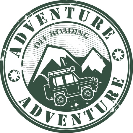 Grunge rubber stamp with words offroad adventure