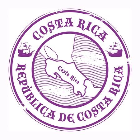post stamp: Grunge timbro di gomma con il nome e la mappa di Costa Rica