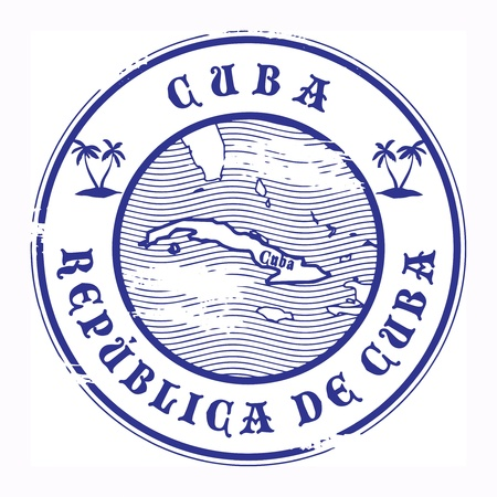 postmark: Grunge Stempel mit dem Namen und der Karte von Kuba