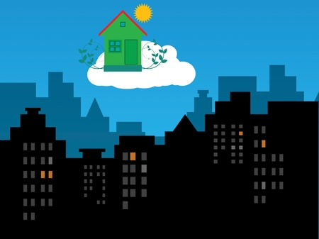 Green eco house in the sky Vector