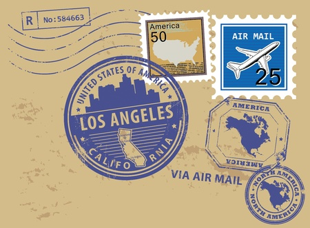 los angeles: Grunge rubber stamp set with name of California, Los Angeles