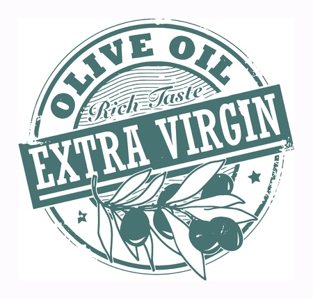 extra: Grunge rubber stamp with the olives and text Extra Virgin Olive Oil