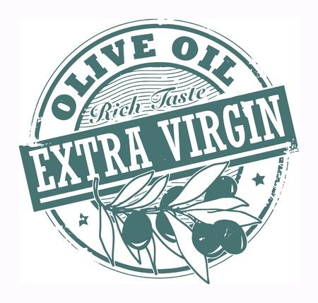 aceite de oliva virgen extra: Grunge sello de goma con las aceitunas y el texto de oliva virgen extra