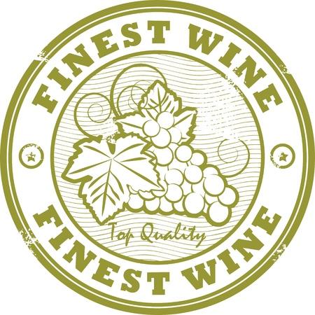 wijn en spijzen: Grunge rubber stempel met woorden Boetes Wijn Stock Illustratie
