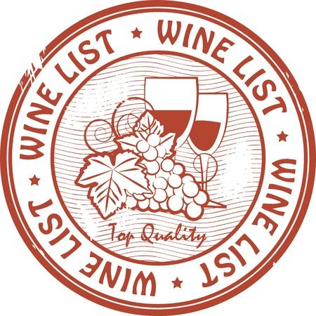 blanc: Grunge sello de goma con carta de vinos palabras Vectores