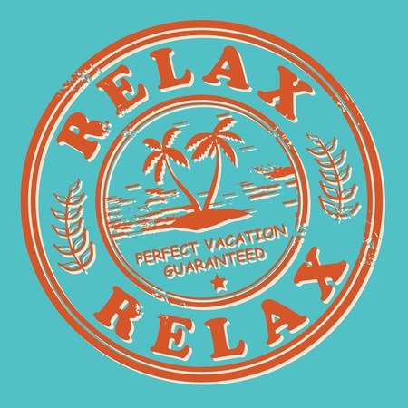 Grunge stamp with the tropical island and words Relax, Perfect Vacation written inside Vector
