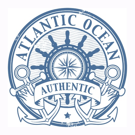anchors: Grunge rubber stamp with the words Atlantic Ocean written inside the stamp Illustration