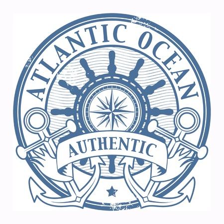marinero: Grunge sello de goma con el Oc�ano Atl�ntico palabras escritas dentro del sello