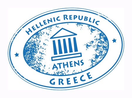 parthenon: Grunge rubber stamp with Parthenon and the word Athens, Greece inside
