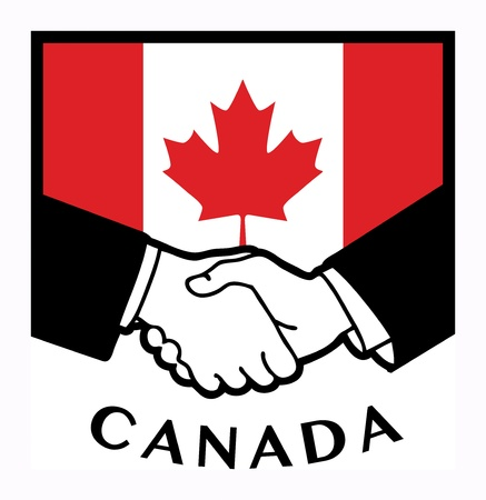 canadian flag: Canada flag and business handshake