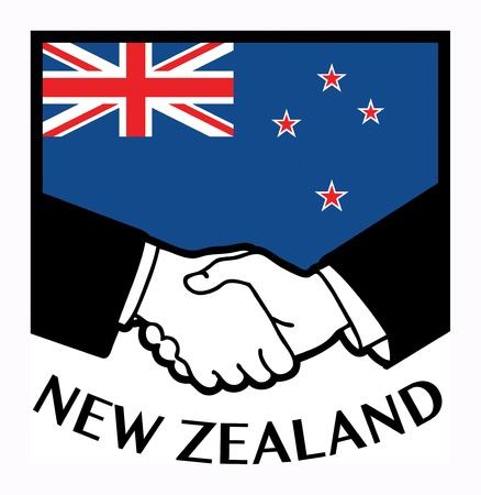 bandera de nueva zelanda: Nueva Zelanda bandera y el apretón de manos de negocios Vectores