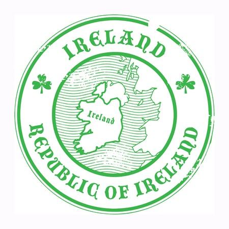irland: Grunge Stempel mit dem Namen und der Karte von Irland
