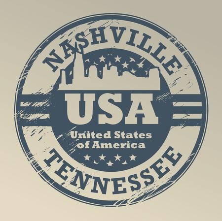 nashville: Grunge rubber stamp with name of Tennessee, Nashville