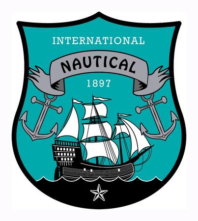 timbre voyage: Étiquette nautique avec le mot écrit à l'intérieur nautique