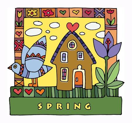 Kleurrijke huizen en tuin - de lente, met de hand getekende illustratie Vector Illustratie