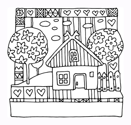 country life: House and garden - spring, hand drawn illustration