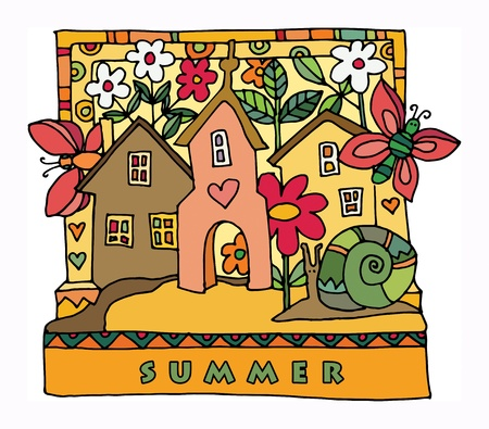 Colorful houses and garden - summer, hand drawn illustration Stock Vector - 18001308