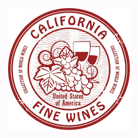 Grunge rubber stamp with words California, Fine Wines Vector